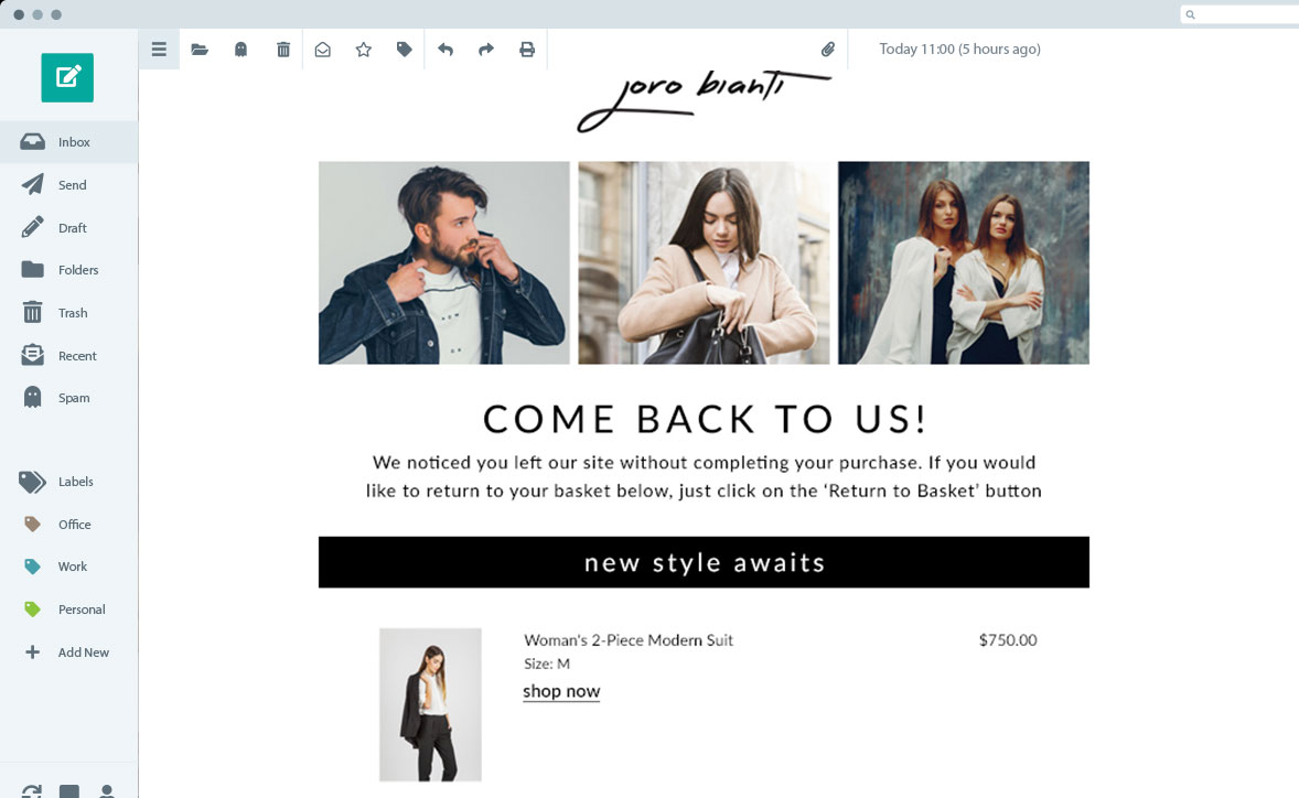 Example of Joro Bianti remarketing email on desktop