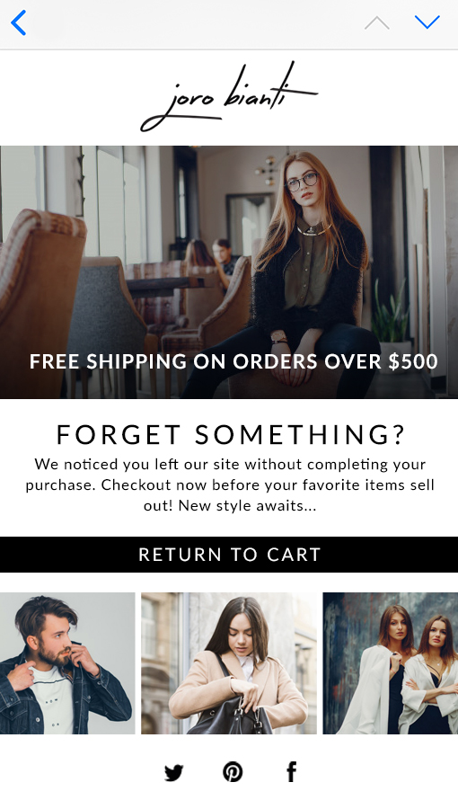 Cart reminder email