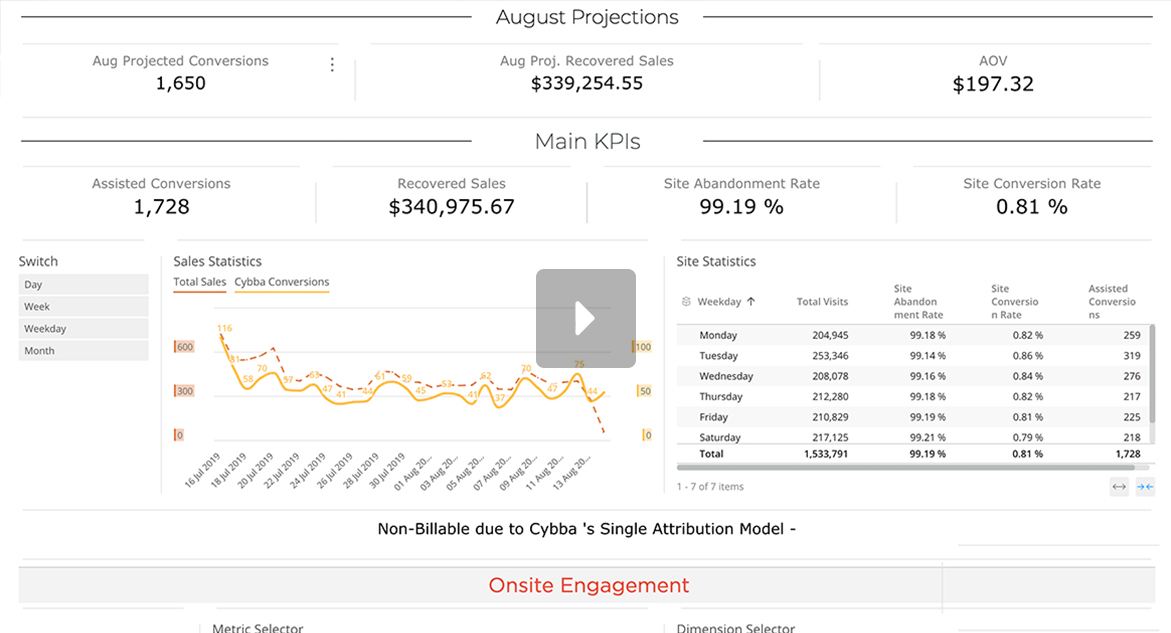 Screenshot of Cybba's performance dashboard video demonstration