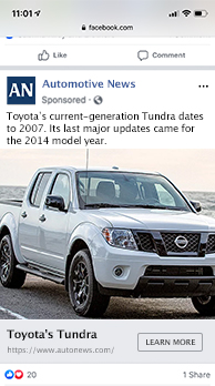 Example of an advertisement for Automotive News