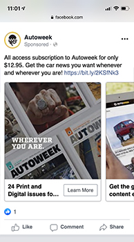 Example of an advertisement for AutoWeek