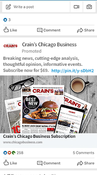 An ad for Crain's Chicago Business with magazines, reading glasses, and coffe cup laid out on wooden surface
