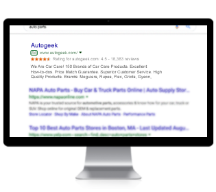 Monitor displaying paid advertisement on Google
