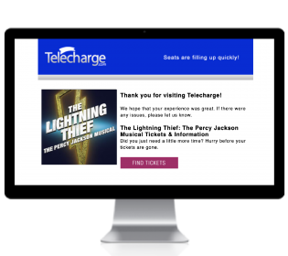 Example of Telecharge remarketing email