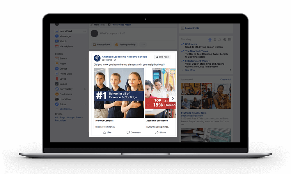 Facebook advertising for American Leadership Academy